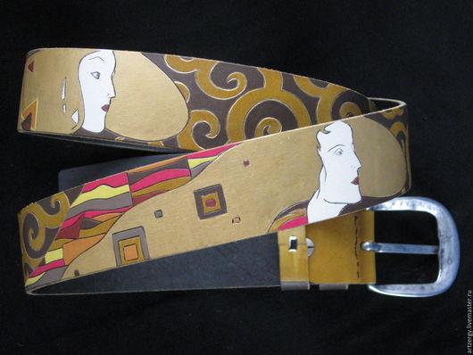 Пояса, ремни ручной работы. Ярмарка Мастеров - ручная работа. Купить У КЛИМТА №4 ремень кожаный. Handmade. Климт