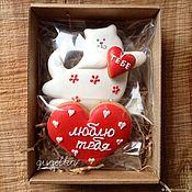 """Пряники ручной работы. Ярмарка Мастеров - ручная работа Набор """"Кот любви"""". Handmade."""