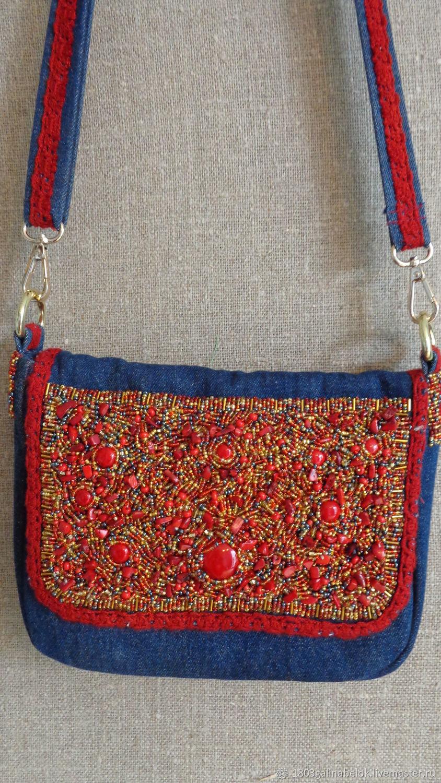 Denim bag with beaded embroidery, Crossbody bag, St. Petersburg,  Фото №1