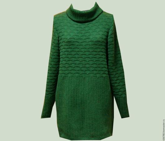 Кофты и свитера ручной работы. Ярмарка Мастеров - ручная работа. Купить Платье свитер. Handmade. Тёмно-зелёный, свитер теплый