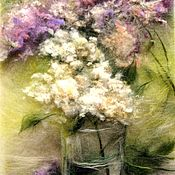 Картины и панно handmade. Livemaster - original item Picture of wool Lilac Quinceanera bloom. Handmade.
