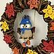 Подвески ручной работы. Ярмарка Мастеров - ручная работа. Купить Осенний венок с совой для интерьера. Handmade. Венок, интерьерная подвеска