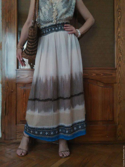 Юбки ручной работы. Ярмарка Мастеров - ручная работа. Купить юбка хлопковая Белый песок, макси. Handmade. Бежевый