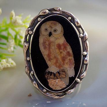 Decorations handmade. Livemaster - original item Florentine mosaic, silver: Owl ring