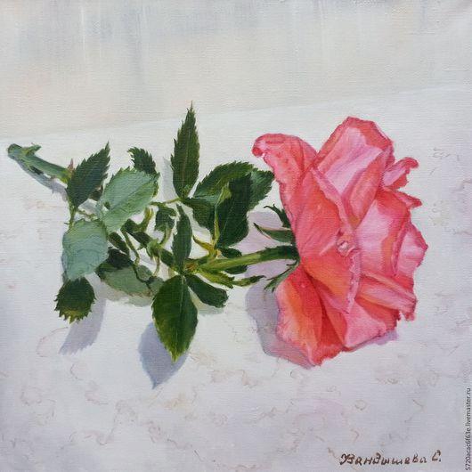 """Картины цветов ручной работы. Ярмарка Мастеров - ручная работа. Купить Картина маслом роза """" Коралловая роза""""30х30 холст, масло.. Handmade."""