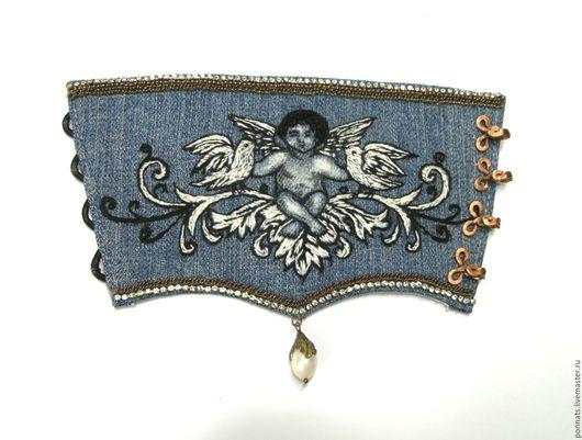 """Браслеты ручной работы. Ярмарка Мастеров - ручная работа. Купить Браслет манжет """"Ангел мой"""". Handmade. Тёмно-синий, ангелок"""