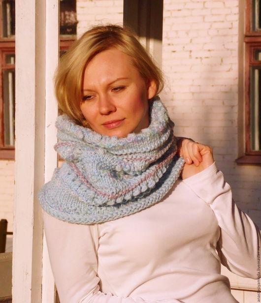 Шарфы и шарфики ручной работы. Ярмарка Мастеров - ручная работа. Купить Шикарный вязаный снуд в нежно-голубом цвете. Handmade.