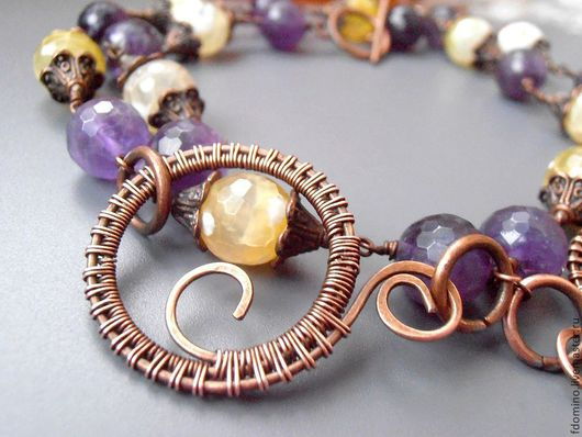 Necklaces & Beads handmade. Livemaster - handmade. Buy Copper Necklace Iris. Natural stones. Amethysts.Fdomino, exclusive jewelry