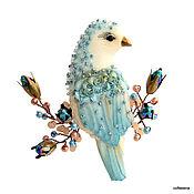 Украшения ручной работы. Ярмарка Мастеров - ручная работа Брошь- птица «Виола».Текстильная брошь-птичка на ветке. Handmade.