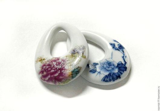 Кулоны керамика,ручная работа, размеры около  50х34-36х7-7,5 мм Подойдут для изготовления серег,кулонов,колье.