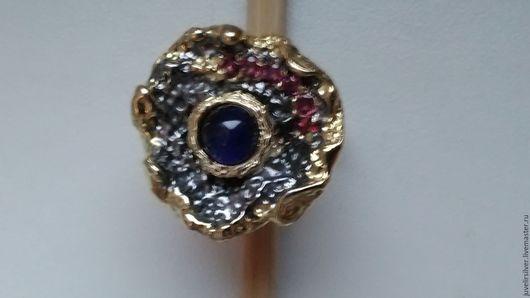 Кольца ручной работы. Ярмарка Мастеров - ручная работа. Купить р-р 18,5 кольцо сапфир серебро 925 пробы родолиты золото. Handmade.