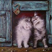 Картины ручной работы. Ярмарка Мастеров - ручная работа Картина маслом с котиками Мои пушистые друзья. Handmade.
