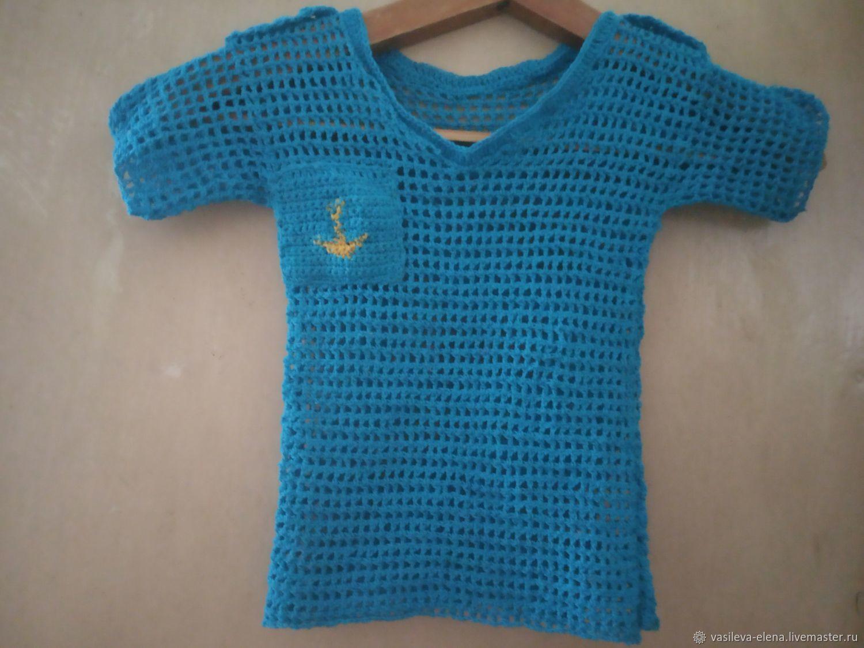 Рубашка вязаная с якорем, Одежда, Саратов, Фото №1
