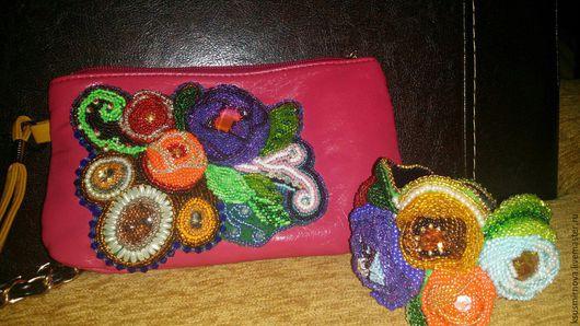 Женские сумки ручной работы. Ярмарка Мастеров - ручная работа. Купить цветочная фантазия. Handmade. Комбинированный, клатч, бисер чешский