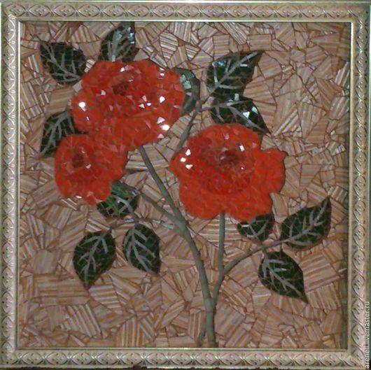 """Картины цветов ручной работы. Ярмарка Мастеров - ручная работа. Купить Панно """"Розы"""". Handmade. Комбинированный, красота, подарок"""