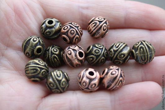 Для украшений ручной работы. Ярмарка Мастеров - ручная работа. Купить Бусины металлические, цвет медь и бронза, 10 мм. Handmade.