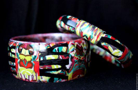 """Браслеты ручной работы. Ярмарка Мастеров - ручная работа. Купить Браслет (широкий) из полимерной глины """"Маскарад"""". Handmade. Разноцветный"""