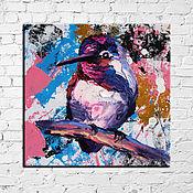 Картины и панно handmade. Livemaster - original item Oil painting with a hummingbird 15/15 cm.. Handmade.
