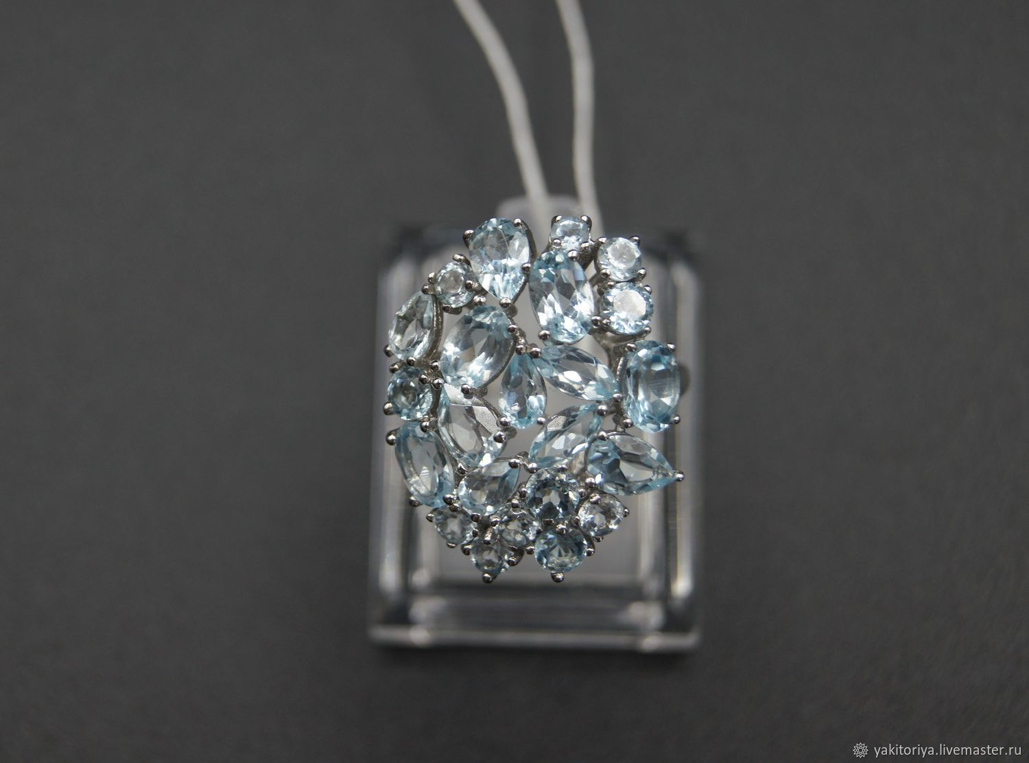 silver ring with blue Topaz, Rings, Moscow,  Фото №1