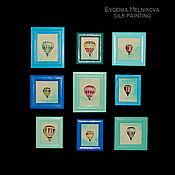 """Картины и панно ручной работы. Ярмарка Мастеров - ручная работа Панно на шелке """"Воздушные шары"""". Handmade."""