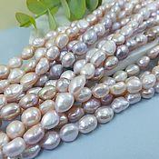 Материалы для творчества handmade. Livemaster - original item 1/2 thread of natural pearls. fries of forms 7-8 mm (thickness) lilac (5364). Handmade.