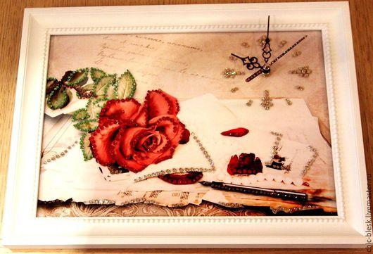"""Часы для дома ручной работы. Ярмарка Мастеров - ручная работа. Купить Часы со стразами Сваровски """"Цветы"""". Handmade. Разноцветный"""