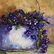 Картины и панно handmade. Livemaster - original item Oil painting of Violets. Handmade.