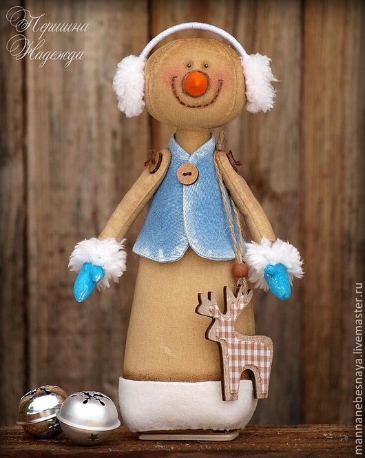 Ароматизированные куклы ручной работы. Ярмарка Мастеров - ручная работа. Купить Кофейный снеговичок в джинсе. Новогдняя Ароматизированная игрушка.. Handmade.