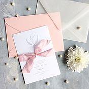 Свадебный салон ручной работы. Ярмарка Мастеров - ручная работа Классические белые свадебные приглашения с прозрачным конвертом. Handmade.