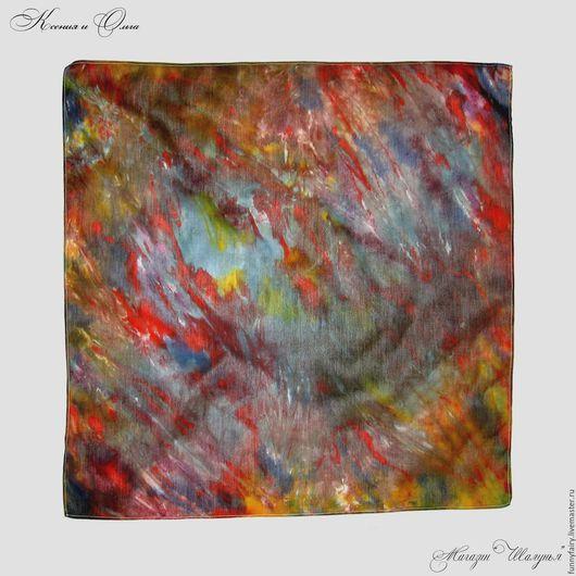 Осенний джаз платок из натурального хлопка ручное окрашивание батик купить Шалунья Петербург  scarf handmade russia