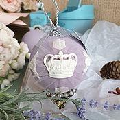 Елочные игрушки ручной работы. Ярмарка Мастеров - ручная работа Елочные игрушка Шар с короной Сиреневый шар. Handmade.
