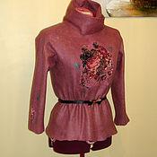 """Одежда ручной работы. Ярмарка Мастеров - ручная работа Валяный Джемпер свитер """" Дымчатая роза """" свитшот розовый деворе. Handmade."""
