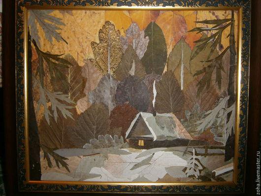 Пейзаж ручной работы. Ярмарка Мастеров - ручная работа. Купить На закате. Handmade. Разноцветный, домик в лесу, закат, зима