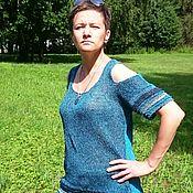 Одежда ручной работы. Ярмарка Мастеров - ручная работа Летняя майка-топ с рукавами и разрезами на плечах. Handmade.