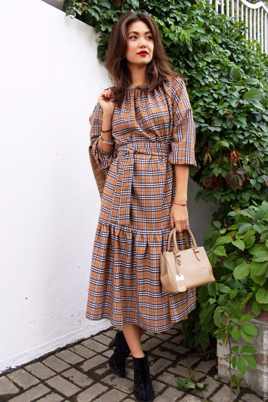 Платье из клетки burberry