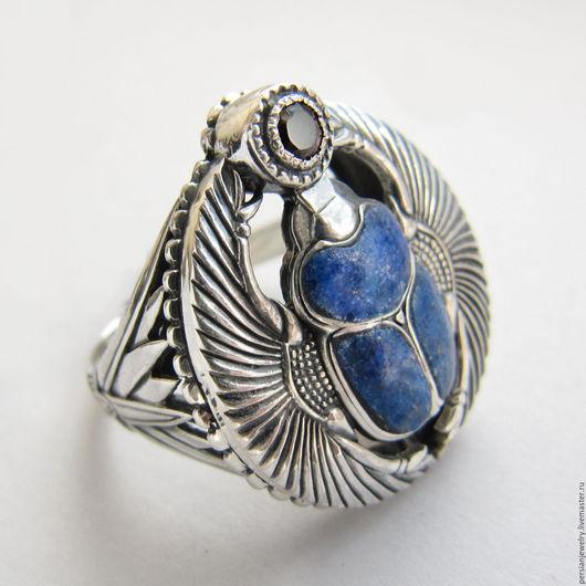 Кольца ручной работы. Ярмарка Мастеров - ручная работа. Купить Перстень серебро лазурит гранат. Handmade. Синий, перстень с камнем