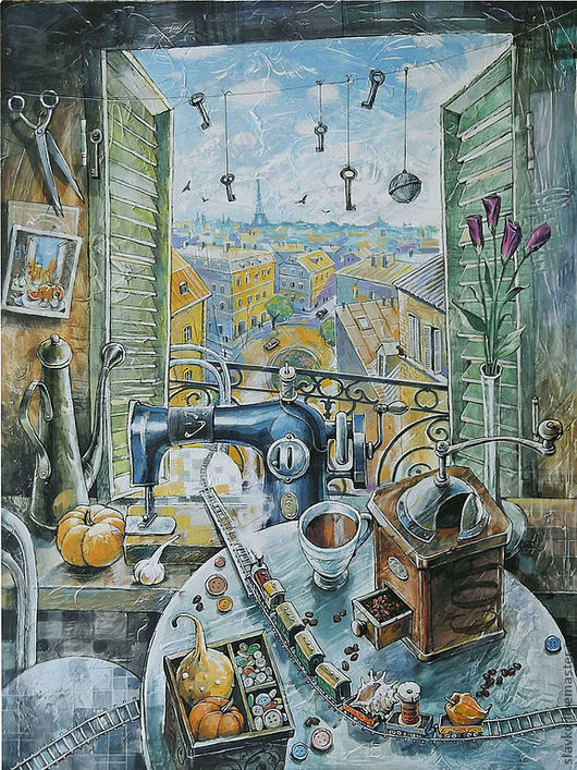 Натюрморт ручной работы. Ярмарка Мастеров - ручная работа. Купить Окно в Париж. Handmade. Окно, Париж, цветы, ирисы, тыква