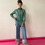 Одежда handmade. Livemaster - original item Long shirt with ties gray-green. Handmade.