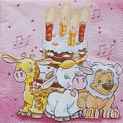 Материалы для творчества handmade. Livemaster - original item Napkins for decoupage birthday funny animals holiday print. Handmade.