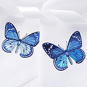 Для дома и интерьера handmade. Livemaster - original item Napkin with embroidered Butterfly. Handmade.
