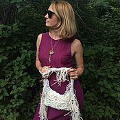 Сумки и аксессуары handmade. Livemaster - original item Linen Macrame Bag, Woven Bag, Fringed Bag, Boho Bag. Handmade.