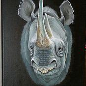 Картины и панно ручной работы. Ярмарка Мастеров - ручная работа Носорог. Handmade.