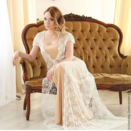 Платья ручной работы. Ярмарка Мастеров - ручная работа. Купить Элегантное платье для утра невесты. Handmade. Бежевый, фотосессия беременных