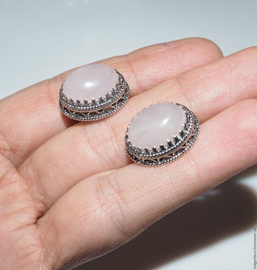 """Серьги ручной работы. Ярмарка Мастеров - ручная работа. Купить Серьги """"Мария"""" розовый кварц, серебро 925 пробы. Handmade."""