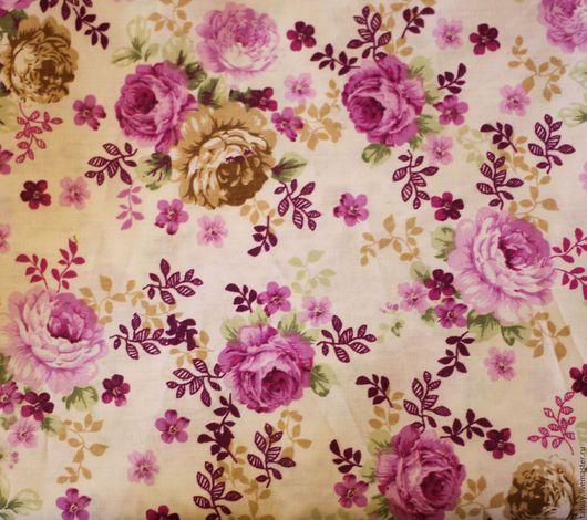 Шитье ручной работы. Ярмарка Мастеров - ручная работа. Купить Ткань хлопок премиум  Сиреневые розы( прованс, шебби). Handmade.