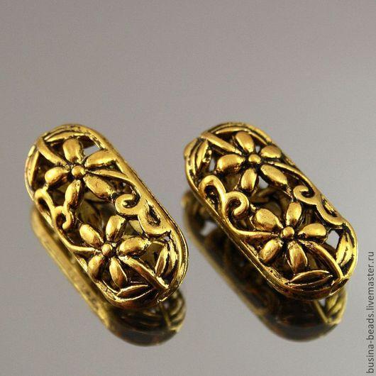 Бусины металлические для сборки украшений ажурные с цветами Сплав с покрытием под золото Бусины полые внутри