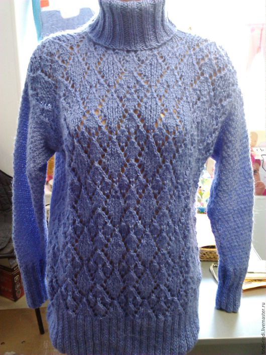 Кофты и свитера ручной работы. Ярмарка Мастеров - ручная работа. Купить свитер женский из мохера с ромбами. Handmade. Сиреневый