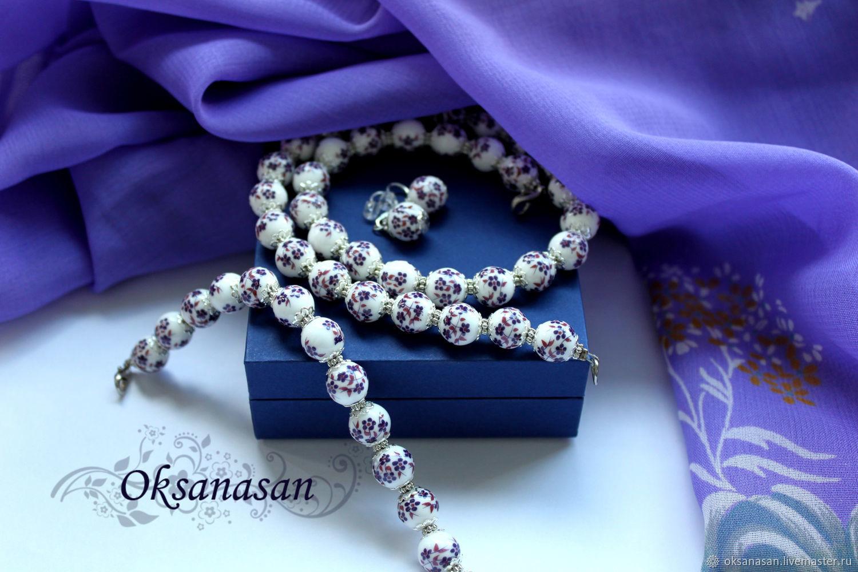 Jewelry sets: beads, bracelet, earrings Purple flowers, Jewelry Sets, Moscow,  Фото №1