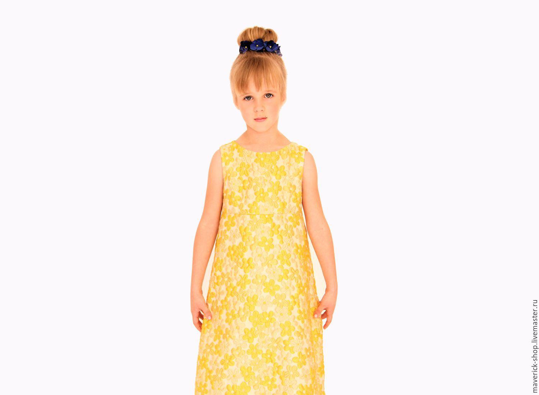 Желтое нарядное платье для девочки из жаккарда, Платья, Москва,  Фото №1