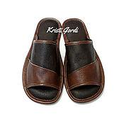 Обувь ручной работы. Ярмарка Мастеров - ручная работа Мужские кожаные тапки М-2. Handmade.